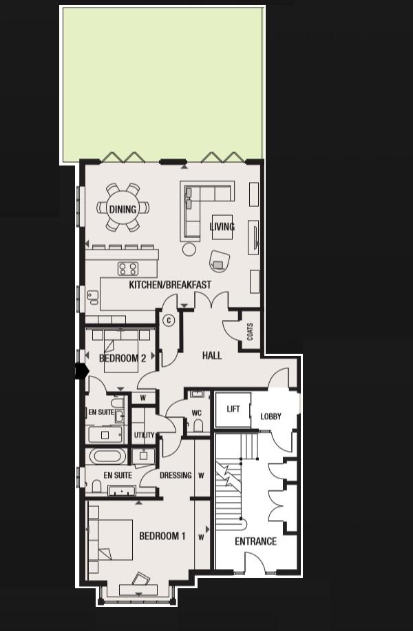 Plot 1 Ground Floor 2 Bedroom Apartment